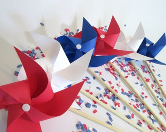 Paper Pinwheels Set of 6 Nautical Favors Beach Party Favors Barbecue Favors Red White and Blue Nautical Decoration Summer Pool Party