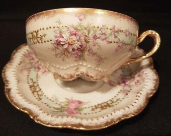 RARE Antique GEORGE BORGFELDT Coronet Limoges France Teacup