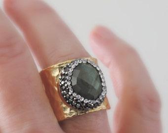 Statement Ring - Labradorite Ring - Gemstone Ring - Boho Ring - Pave Ring - Black Crystal Ring - Adjustable Ring