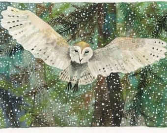 Art Print Watercolor Owl's Snowy Flight