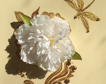 Gold Dragonfly and White Peony