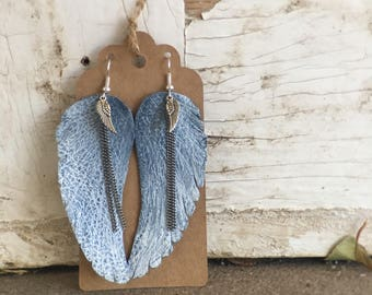 White Distressed Leather Angel Wing Earrings