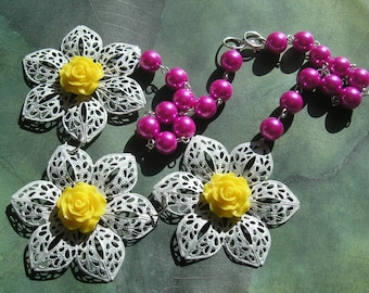 NESA #3 Statement Necklace Large White Flowers with Bright Yellow and Magenta Faux Pearl