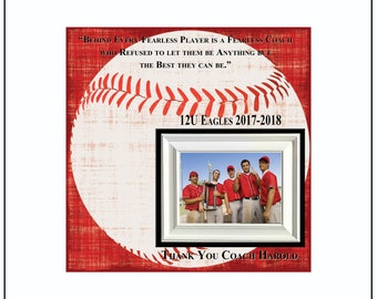 Baseball Coach Gift , Coach Appreciation , Custom Coach Picture Frame , Coach Thank You , End Of Season Gift , Personalized Team Frame
