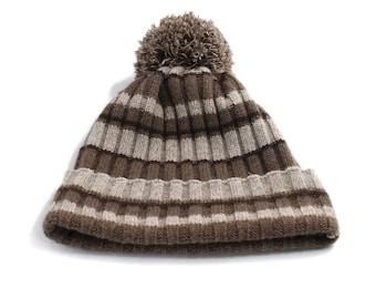 Mongolian Eco Yak Down Ribbed Pom Pom Hat Mongolian Natural Yak Wool Hat Wool Bobble Hat