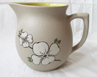 "1970 Pigeon Forge Handmade 5.5"" Pitcher, Dogwood Blossoms on Tan Yellow Interior"
