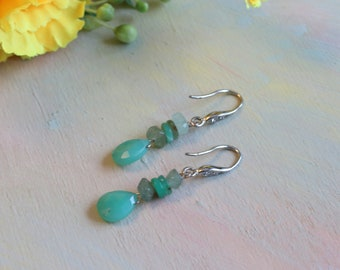 Earrings with chrysoprase and jade, silver-plated