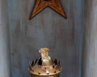 Star Light, Star Bright,  Mixed Media, Assemblage, Art, Antique, Junk Art,  Lantern, Lace,  Gift, Farmhouse, Pioneer, Ranch, Home Decor,