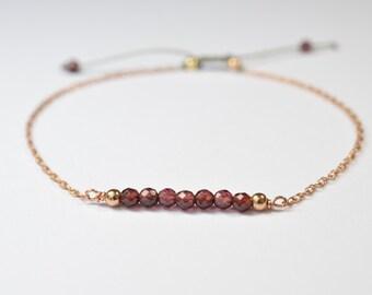 Bracelet Garnet gold filled chain * adjustable 14 k