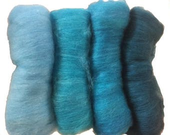 Gradient Batts to spin.  wool and silk Blue Greens Kit ~5 oz (~142g) total
