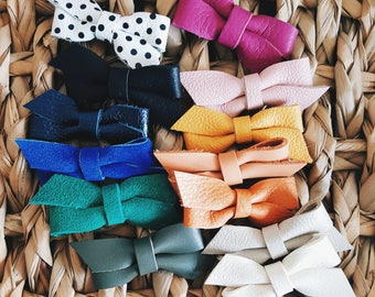 Baby / Girls Leather Bow Set of 5 ( You Choose Colors )