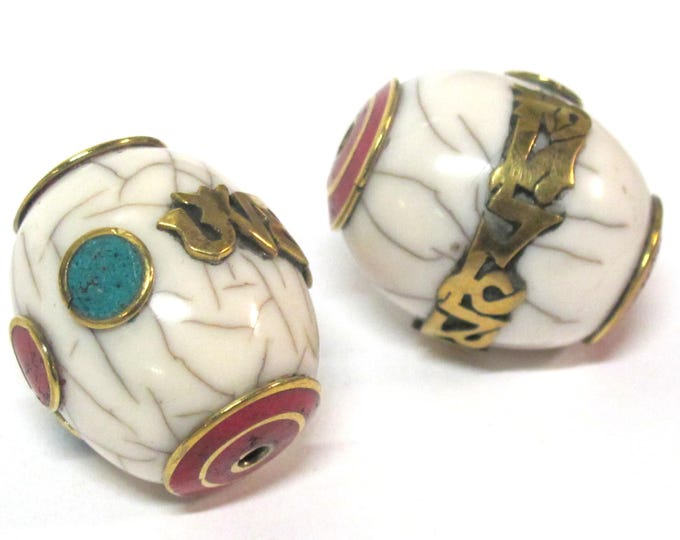 1 Bead- Large thick Tibetan white crackle resin Om mantra bead with brass turquoise and coral inlay - mala making focal bead - BD954