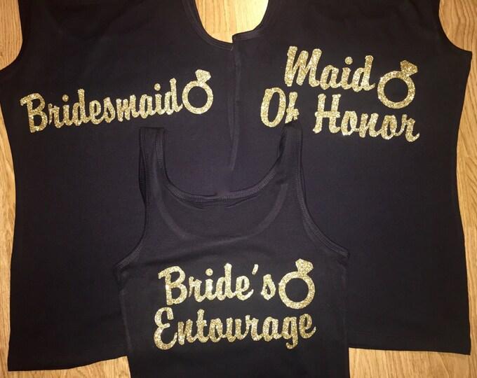 set of 3 wedding ring bridesmaid shirts. Bridal party t-shirts. Gold foil vinyl shirts. Ladies bachelorette shirts. Custom bridal party tees