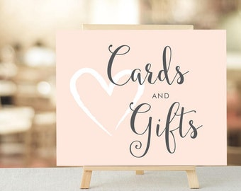 Cards and Gifts, Wedding Signage, Blush Wedding Sign, Wedding Decoration, DIY Wedding Sign, Wedding Decor, Wedding Decorations