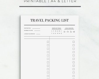 Travel Packing List Printable Travel Planner Packing List Sheet Printable Planner Insert Trip Planner Travel Organizer | Instant Download