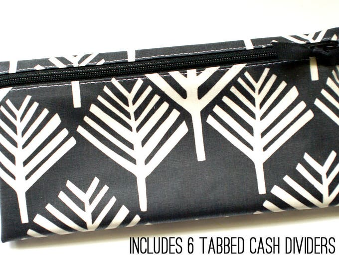 Black and off-white matte laminated cotton cash wallet