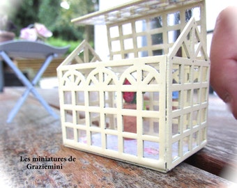 New Miniature greenhouse - scale 1:12- Dollhouse miniatures