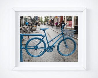 Reykjavik photo - Iceland walking streets - Blue bikes photo print - World city travel decor - Color photograph wall art 8x10 8x12 12x18