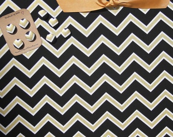 "Chevron Magnet Board (12"" x 18"") Black and Gold chevron,  Fabric Magnetic Bulletin Board, Photo Display, Memo Board, Wedding decor,"