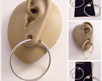 "Monet 1 1/2"" Large Tube Hoops Pierced Stud Earrings Silver Tone Vintage Tube Round Open Ring Dangles Surgical Steel Posts"