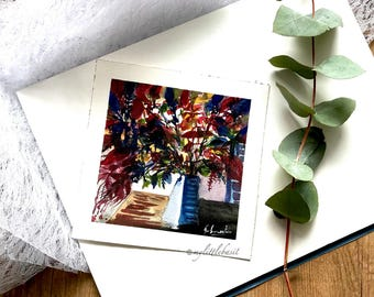 Still life abstract floral Original painting floral bouquet artwork wall art square 8x8 watercolor floral Aquarelle contemporary art