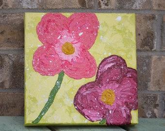 Original Acrylic Flower Painting - Spring Blossoms -  8 x 8