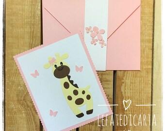 Christening Invitation Card Birth Giraffe