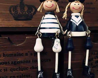 Adorable wooden Navy Doll Couple hanging feel lovely home gift