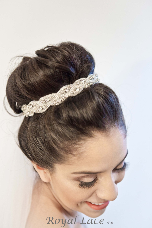 wedding headband wedding hair accessory crystals beads