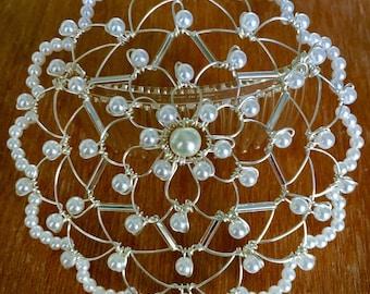 Women's Pearl Star of David Wire Kippah