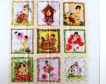 9 Woodland Fairy Blocks, Cotton Quilting Fabric Barbara Tourtillotte for Clothworks