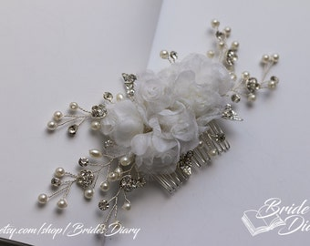 Wedding hair jewelry, hair comb with rhinestones and fabric flowers, bridal comb white flowers