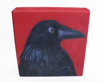 Raven Art Print of Original Painting on Wood Block -  Folk Art by Tamara Adams