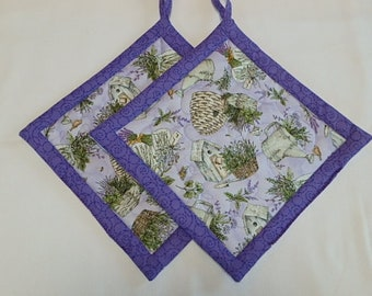Quilted Lavender Potholders 2,  Fabric Hotpads Set of 2, Unique Handmade Pot holders Gift