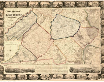 Union County  New Jersey 1862 Wall Map -  Reprint with Homeowner Names