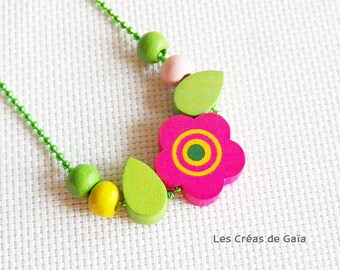 Necklace garden • wood and metal • stackable children necklace, jewelry colorful playful Look •