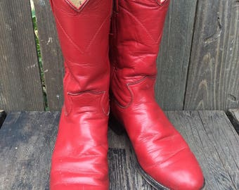 Women's Vintage Retro 90's Justin Red Cowgirl Boots Leather  Size 5 1/2