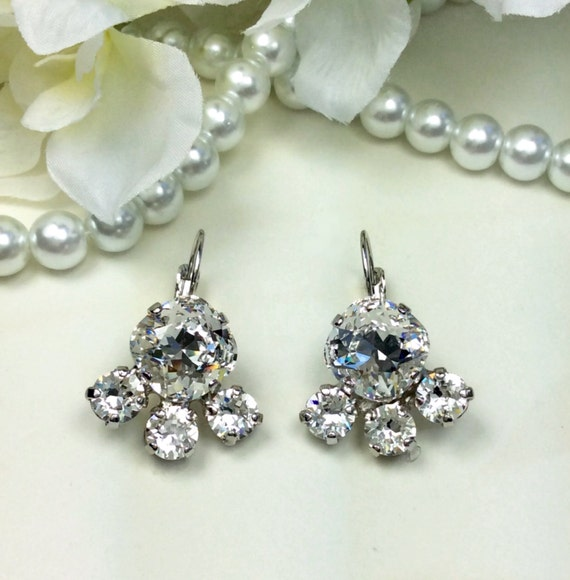 Swarovski Crystal 12MM Cushion Cut, Lever- Back Drop Earrings With Partial Halo -  Gorgeous Bridal Earrings - Clear Crystal  - FREE SHIPPING