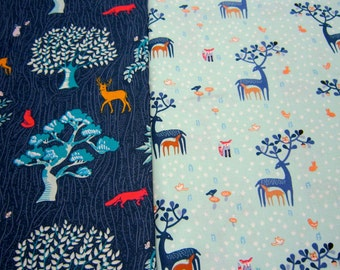 Woodland Cotton Fabric Set by Dear Stella Designs with Deer Fox Bunny in Navy and Aqua