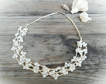 Boho wedding necklace, Rustic wedding, Pearl  rustic necklace, Pearl  boho necklace, Pearl multi strand necklace, White boho necklace
