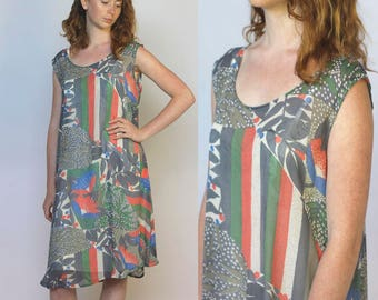 into the sun -- handmade vintage Indian chiffon dress S/M