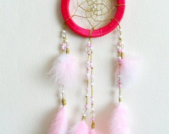 Dream Catcher - Boho Dreamcatcher - Bedroom Decor - Pink and White Feathers
