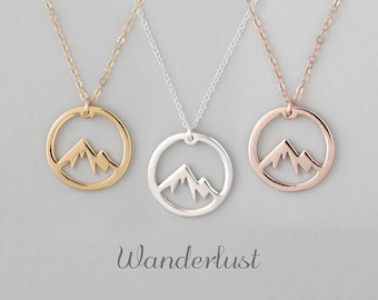 Mountain necklace etsy mountain necklace wanderlust necklace the mountains are calling mountain jewelry mountain pendant mountain charm aloadofball
