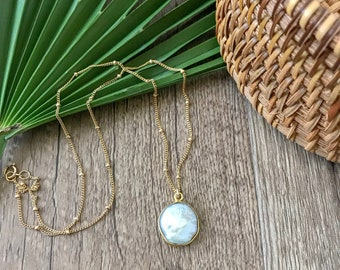 New! // Coin Pearl Goldfill Layering Necklace