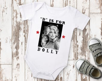 D is for Dolly Parton Nashville Baby Bodysuit, Country Baby Clothes, Hipster Baby, Music City Shirt, Baby Gift, Boho Baby, Nashville Baby