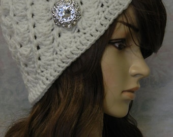 Hand Crocheted Hat with Brooch