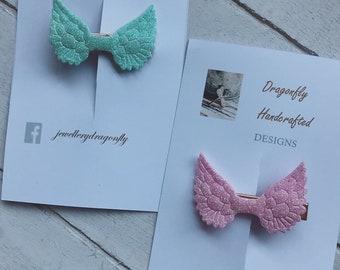 Angel Wing Glitter Hair Clips / Pastel Hair Clips / Angel Wing Hair Clips / Girls Accessories / Gifts for Girls / Rose Gold / Cute Hair Clip