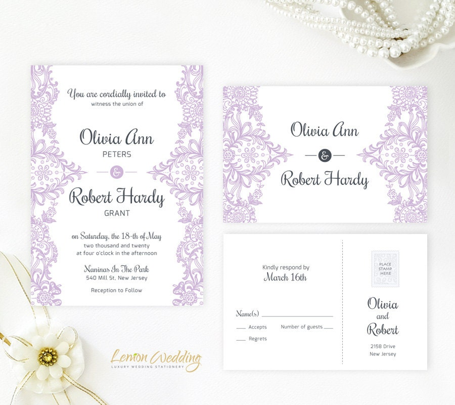 Lilac Wedding Invitations Printed On White Shimmer Cardstock