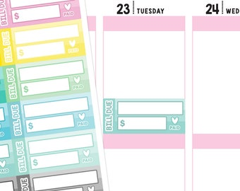 Bill Due Planner Stickers