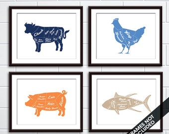 Beef, Chicken, Pork and Fish (Butcher Diagram Series) - Set of 4 - Art Prints (Featured in Assorted Colors) Kitchen Prints